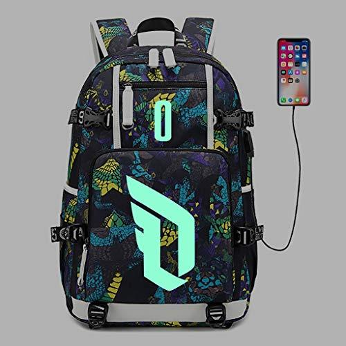 カジュアルデイパック ラップトップバックパック、男性と女性のファッションプリントUSB充電ポート付きショルダーバッグ、超薄型防水バッグバックパック、16インチラップトップに最適-発光 ラップトップバックパック (Color : B, Size : 2)