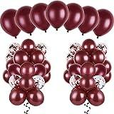 Kit de 120 Pièces Ballons Bourgogne Ballons de Bourgogne en Latex Balloons Confetti pour Mariage Douche Nuptiale Fête d'Anniversaire Décoration d'Anniversaire