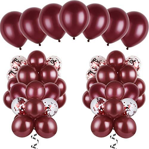 120 Stücke Burgund Luftballons Kit Latex Burgund Luftballons Konfetti Luftballons für Hochzeit Braut Dusche Geburtstag Party Jahrestag Dekoration