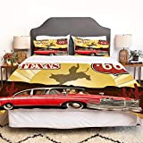 SIOCNYE Bettbezug-Bettwäsche,Signboard Poster with Cadillac Art Car Cowboys,Mikrofaser-1 Bettdecke-Bettlaken 240×260CM und 2 Kissenbezüge 50×80CM