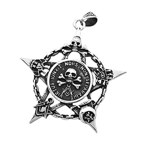 Anhänger Freimaurer Totenkopf Pentagramm Stern Edelstahl Halskette Lederkette Kugelkette Masonic Gothic Damen Herren Silber-nur-anhänger