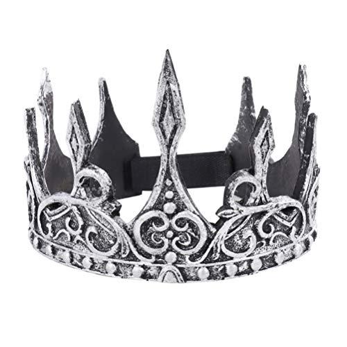 AMOSFUN Halloween Antique Silver King Crown Retro King Crown Cosplay Royal Medieval Crown Monarch...