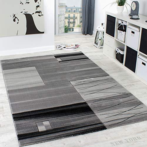 Paco Home Tapis Chic Noble Moderne à Contour Carrelé Gris Noir Crème Liquidation, Dimension:120x170 cm