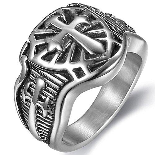 Jude Jewelers Anillo de Acero Inoxidable con Cruz de Espada Cruzada Medieval