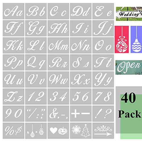 Paquete de 40 plantillas de letras para pintar en madera, plantillas de alfabeto de PET reutilizables con plantillas de fuentes de caligrafía, signos de números para manualidades de pizarra de