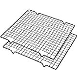 Lamoutor 2Pcs Metal Kitchen Cooling Rack Baking Cooling Rack Square Wire Cooling Rack for Cake and Meat 10 x 11 inches (Black)