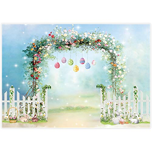 Allenjoy Lente Pasen Bloemenachtergrond Bunny Hangende Eieren Hek Wortel Muurdecoratie Fotografie Achtergrond 7x5ft Konijn Grassland Pasgeboren Baby Douche Kids Banner Photo Booth Props 7x5ft