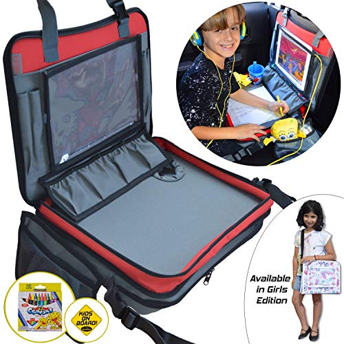 Kids Travel Tray 3 in 1 - Car Seat Travel Play Tray (16x12) Waterproof Storage Organizer Activity Lap Tray, Carry Bag & Tablet IPad Holder Free Extra - Crayons (12 Pack) + Car Sticker, Grey-Red