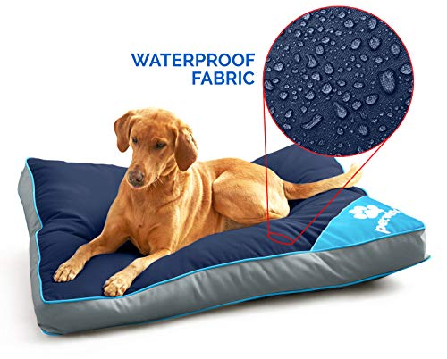Pet Winks Waterproof Cushioned Mattress Pillow Pet Bed Removable Cushion Outdoors and Indoor Use (Navy/Aqua, 58x85cms)