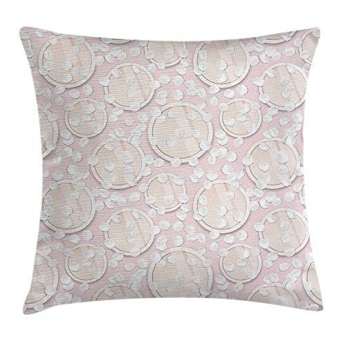 LOPEZ KENT Dusty Rose Throw kussensloop, make-up thema grafisch gezicht huid poeder cosmetica patroon met witte bloemblaadjes, decoratieve vierkante Accent kussensloop, 18 X 18 inch, baby roze wit