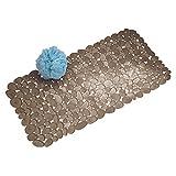 iDesign Pebblz Suction Non-Slip Bath Mat for Shower, Bathtub, Stall, 26' x 13.5', Brown