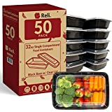 Reli. Meal Prep Containers, 32 oz. (50 Pack) - 1 Compartment Food Containers with Lids, Microwavable...