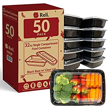 Reli Meal Prep Containers 32 oz  50 Pack  - 1 Compartment Food Containers with Lids Microwavable Food Storage Containers - Black Reusable Bento Box/Lunch Box Containers for Meal Prep  Black  32oz