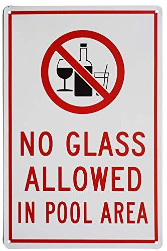 """Blechschild mit Aufschrift """"No Glass Allowed in Pool Area"""", Sicherheitsschild, ohne Brille für Pools drinnen und draußen, 20,3 x 30,5 cm"""