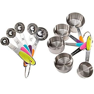 EVOIO 10 Piece 18/8 Measuring Cups and Spoons Set -Premium Quality Stainless Steel with Silicone Handles and Engraved Measurements