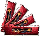 G Skill Ripjaws 4 F4-2400C15Q-32GRR 32GB Kit DDR4-2400 MHz Unbuffered Non-ECC Memory Modules with Heatspreader - Red