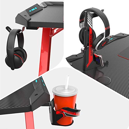 EUREKA ERGONOMIC Metal Gaming Accessories Bundle: Cup Holder, Headset Bag Hook & Headphone Stand (L, Black)
