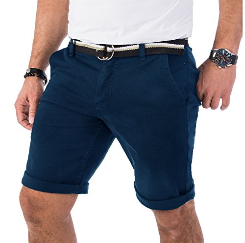 Rock Creek Herren Chino Shorts Hose Kurz Chinoshorts Inkl Gürtel Männer Sommer Bermuda Stretch Rc-2133 32 Navy