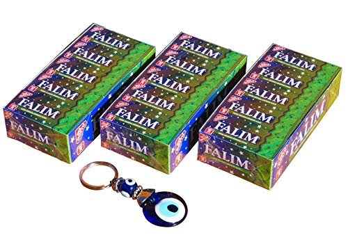3 x 140g Falim Kaugummi Minze / Nane ohne Zucker 100er + Orient-Feinkost Nazar Schlüsselanhänger GRATIS