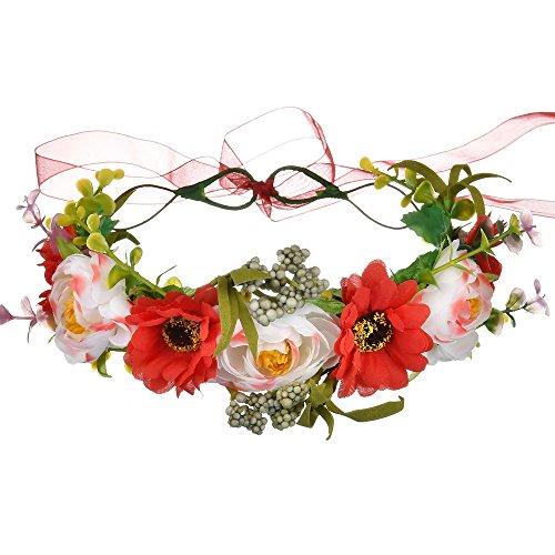 iKulilky - Diadema para mujer, guirnalda de flores de ratán, para novias, para viajes, vacaciones, bodas, color rojo