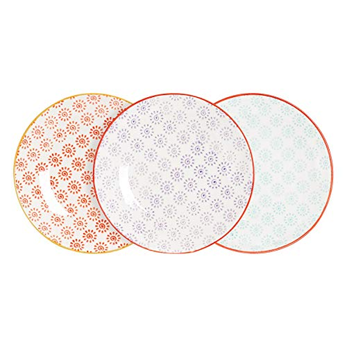 Nicola Spring Petites Assiettes/Assiettes à Dessert à Motifs - 180 mm (7 Pouces) - 3 modèles torsadés - Boîte de 6