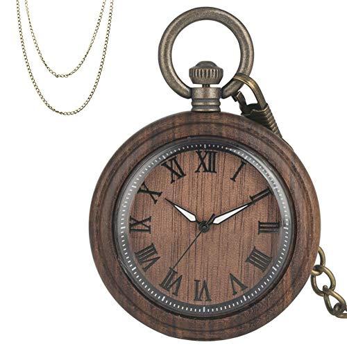 FHLKP Números Romanos Reloj de Bolsillo de Cuarzo con Esfera Redonda de Madera Café Retro Reloj Colgante de Madera Completo con Cadenas de Bronce