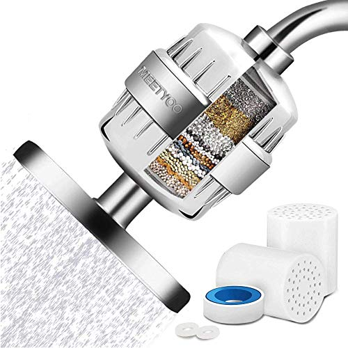 Shower Filter 15 Stage For Hard Water, Universal Shower Water Softener with 2 Cartridges, High Output Shower Head Filter Removes Chlorine and Harmful Substances