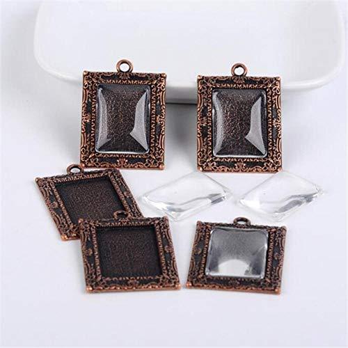 WANM 5 Set/Lote (5 Piezas de Base + 5 Piezas de Vidrio) Configuración Colgante Cabujones Bases Bandejas de Bisel para Hacer Collares DIY
