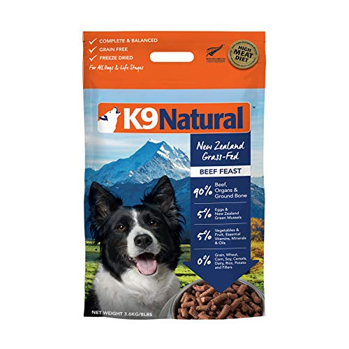 Freeze Dried Dog Food Or Topper By K9 Natural - Perfect Grain Free, Healthy, Hypoallergenic Limited Ingredients Booster For All Dog Types - Raw, Freeze Dried Mixer - Beef 8Lb Pack