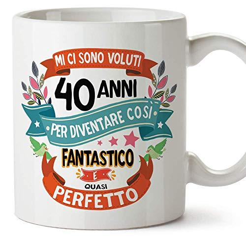 MUGFFINS Tazza Compleanno 40 Anni - Idee Regali Originali et Divertenti per Uomo e Donna - per lui per lei. Ceramica 350 mL