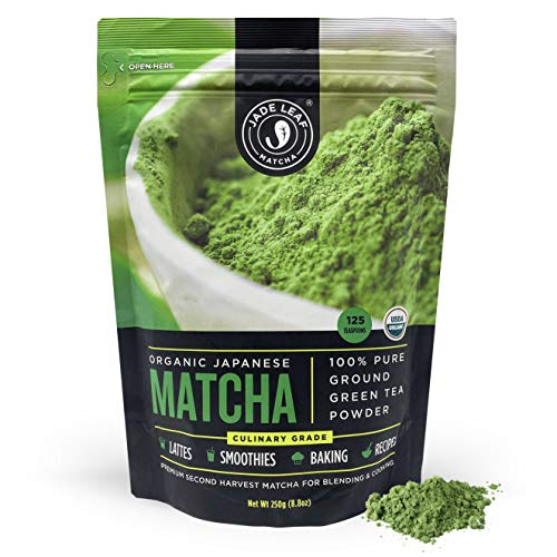 Jade Leaf Organic Matcha Green Tea Powder - Authentic Japanese Origin - Premium Second Harvest Culinary Grade (8.8 Ounce)