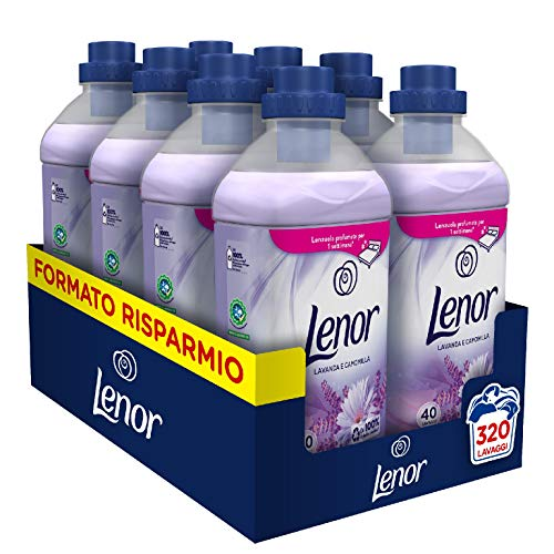 Lenor Ammorbidente Lavatrice Concentrato, 320 Lavaggi (8 x 40), Lavanda e Camomilla Azione Ammorbidente, Maxi Formato, Freschezza Duratura, Per Tutti i Capi