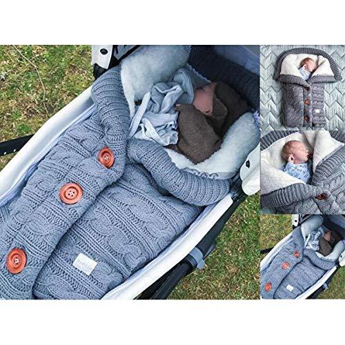 Warme Decke Neugeborenen Schlafsack, Danolt Kids Baby Schlafsack mit Baumwolle, 0–12 Monate Neugeborene, Jungen und Mädchen, Grau
