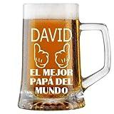 Jarra de Cerveza Personalizada Día del Padre GUANTES MEJOR PADRE Regalo Grabado y Personalizado para Hombre o Mujer Obsequio Celebraciones Cumpleaños Aniversarios Día del Padre Detalle personalizado