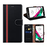 COODIO Funda Cuero LG G4, Funda LG G4, Funda Cover Rugged LG G4 Case con Magnético/Cartera/Soporte para LG G4, Negro/Rojo