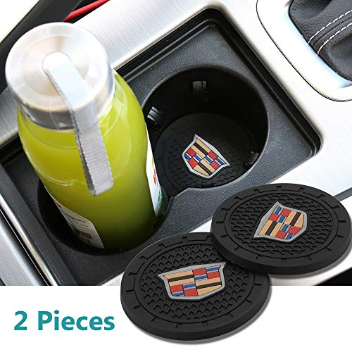 2 Pcs 2.75 inch Car Interior Accessories Anti Slip Cup Mat for Cadillac Escalade, CTS,SRX, BLS, ATS,STS, XTS, SXT,etc All Models