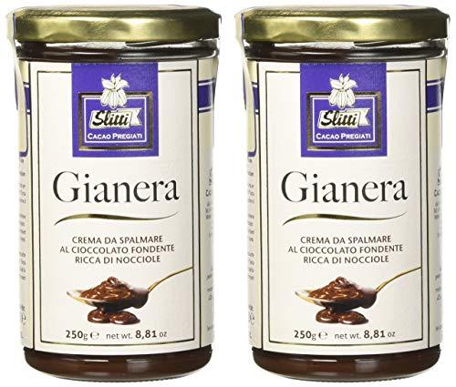 Slitti Gianera Crema da Spalmare al Cioccolato Fondente Ricca di Nocciole - 2 confezioni da 250 g