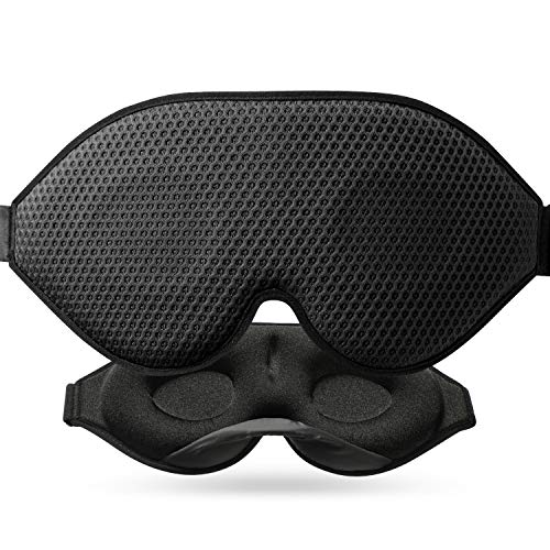 Unimi 3D Sleep Mask, Total Darkness,2020 Mesh Sleep Eye Mask for Women Men, Sleeping Blindfold with Breathable Fabric & Mesh Vents, Molded Eye Shade Cover with Adjustable Strap for Travel, Nap