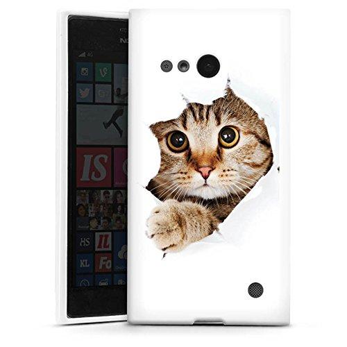 DeinDesign Silikon Hülle kompatibel mit Nokia Lumia 730 Hülle weiß Handyhülle Katze Haustier Tiere
