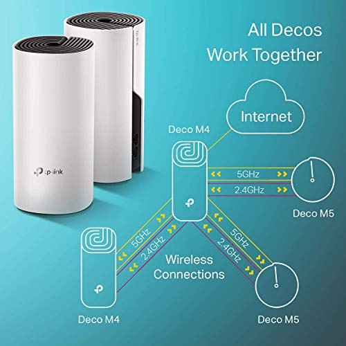 TP-Link Deco Whole Home Mesh WiFi System – Up to 5,500 Sq. Ft. Coverage,WiFi Router/WiFi Extender Replacement, AC1200 Gigabit Ports, Seamless Roaming, Parental Controls,Works w/ Alexa (Deco M4 3-Pack)