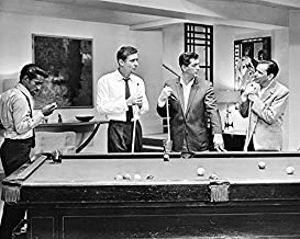 Frank Sinatra Rat Pack By Pool Table B&W 16x20 Canvas Giclee