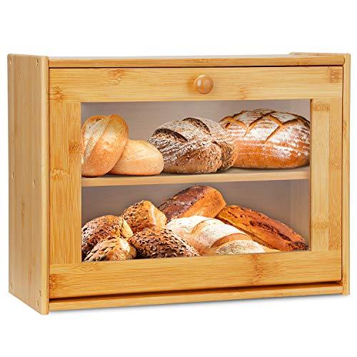 Grande contenitore per il pane in bambù a doppio strato, con finestra trasparente per il piano di lavoro della cucina, contenitore per il pane
