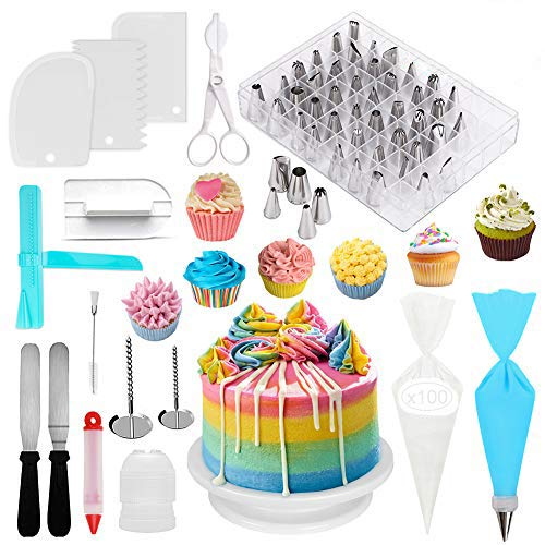 Geisofu Cake Decorating Supplies Kit, 164 IN 1 Reusable Professional Supplies Baking Accessories With Icing Tip Set, Cake Turntable Stand, Icing Smoother Spatula & Other Baking Supplies(164PCS)