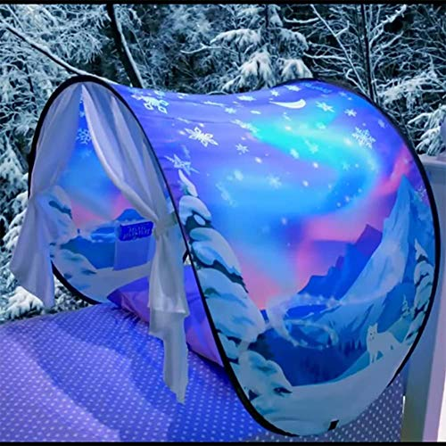 ZXGQF Tent-Pop Up Tents Bed Tents, Children Play Tent-Dinosaur, Unicorn, Space, Snowflake Tent, Indoor Princess Castle Playhouse, for Boys and Girls (D)