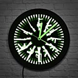 The Geeky Days Gun and Bullets LED Neon Sign Wall Clock Vintage Different Guns Design Illuminated Wall Clock Color Change with Remote Control