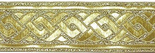 10m broccato assetto nastro tessuto 35 millimetri di larghezza Colore: Oro lurex di 1A-merceria 35069-go