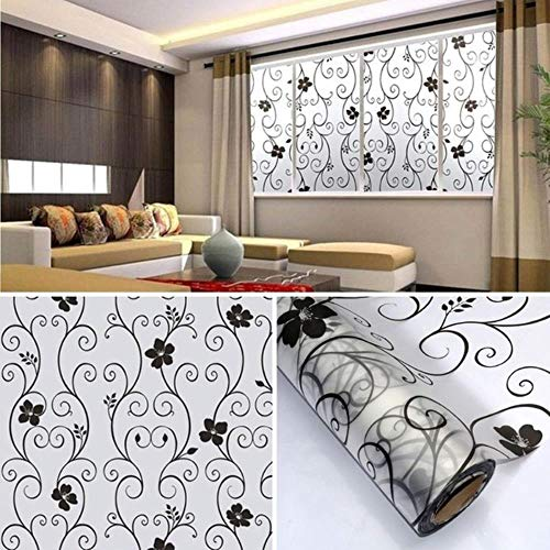 Sweet Frosted Privacy Cover Glass Window Door Black Flower Sticker Film Adhesive Home Decor BJStore, zwart