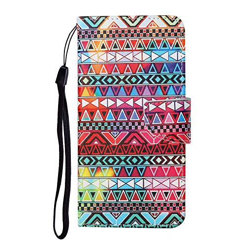 JZ Painted Design Wallet Funda For para Samsung A50 / A30s / A50s Flip Cover with [Stand][Wrist Strap] - Tribal Map