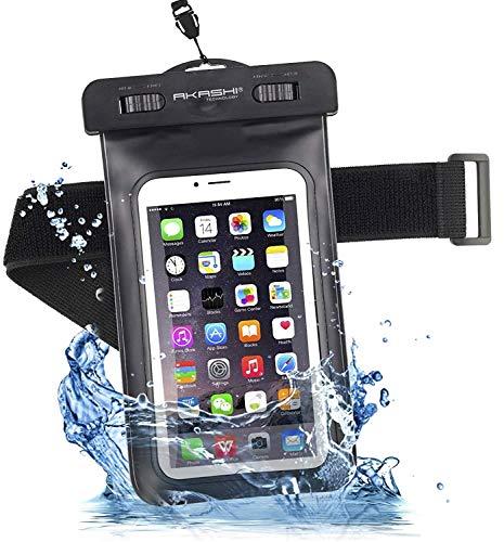 Akashi Technology - Funda Impermeable Universal Bolsa para Móvil Estanca a Prueba de Agua IPX8 Compatible con iPhone 12 Pro MAX, 11, X/XR/XS/X, Compatible con Samsung Galaxy S10Plus
