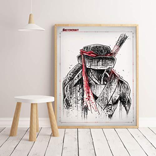Flduod FC spel hot film anime karakter hoofdrolspeler ninja schildpad aquarel poster voor kinderkamer hoge kwaliteit Art Decor50x75cm
